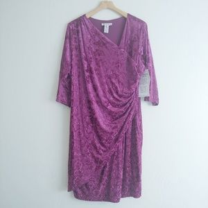 Roaman's pink velour textured midi dress